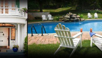 Hampton Terrace front door and pool