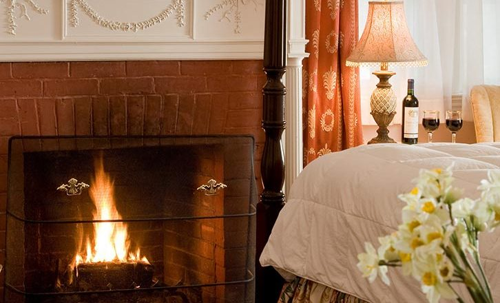 Fireplace at our Historic Hotel Near Tanglewood
