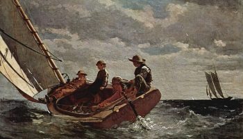 Painting of men in a sail boat