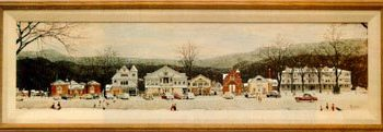 Old picture of a town in snow
