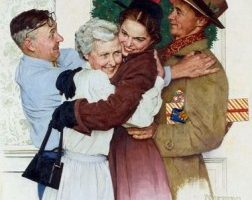 Old picture of a family hugging at Christmas