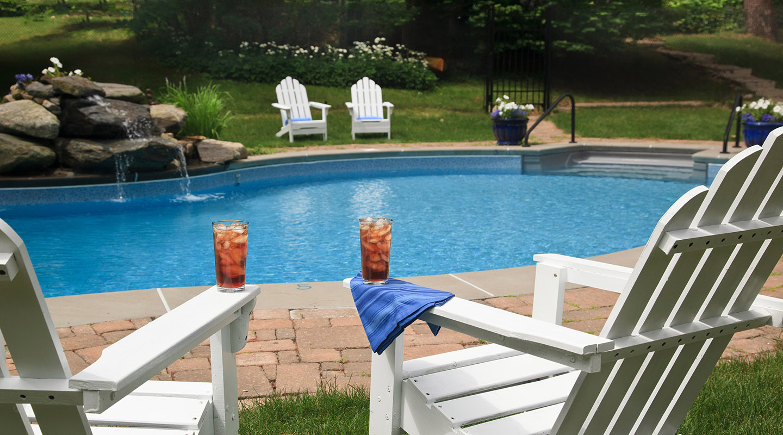 Iced tea on pool chairs