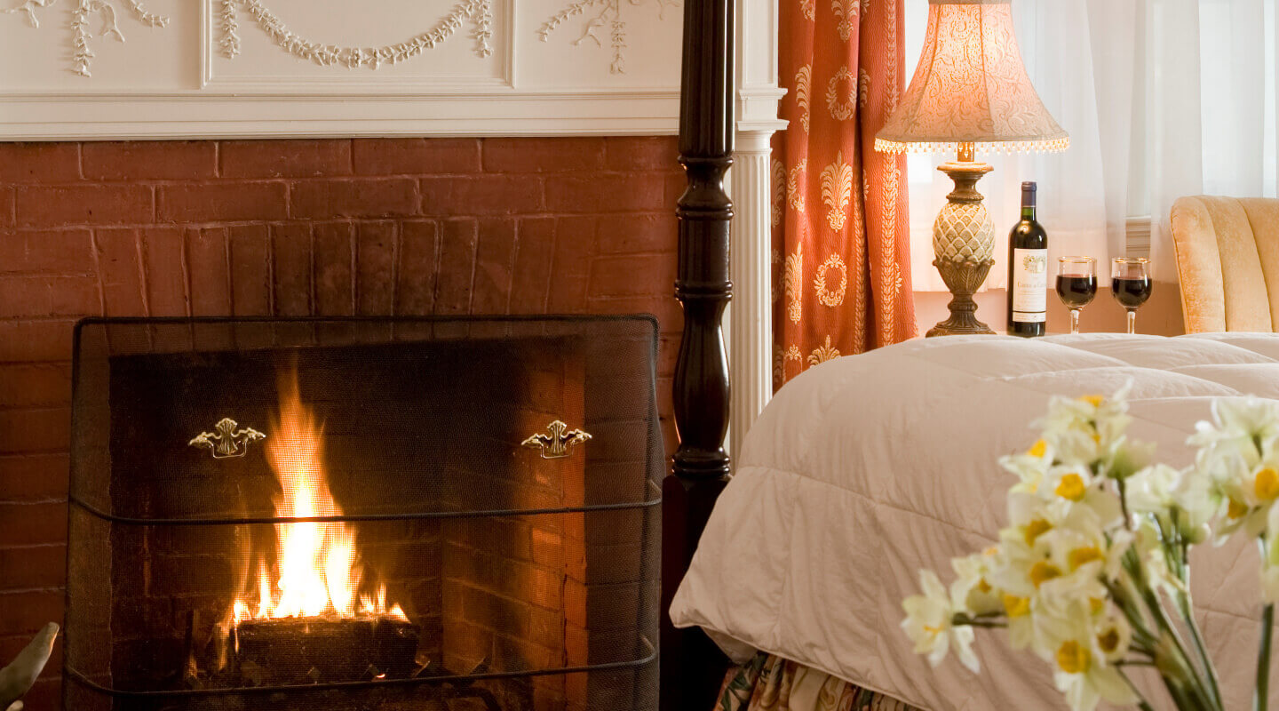 Cozy Fireplace in Berkshires B&B Guest Room