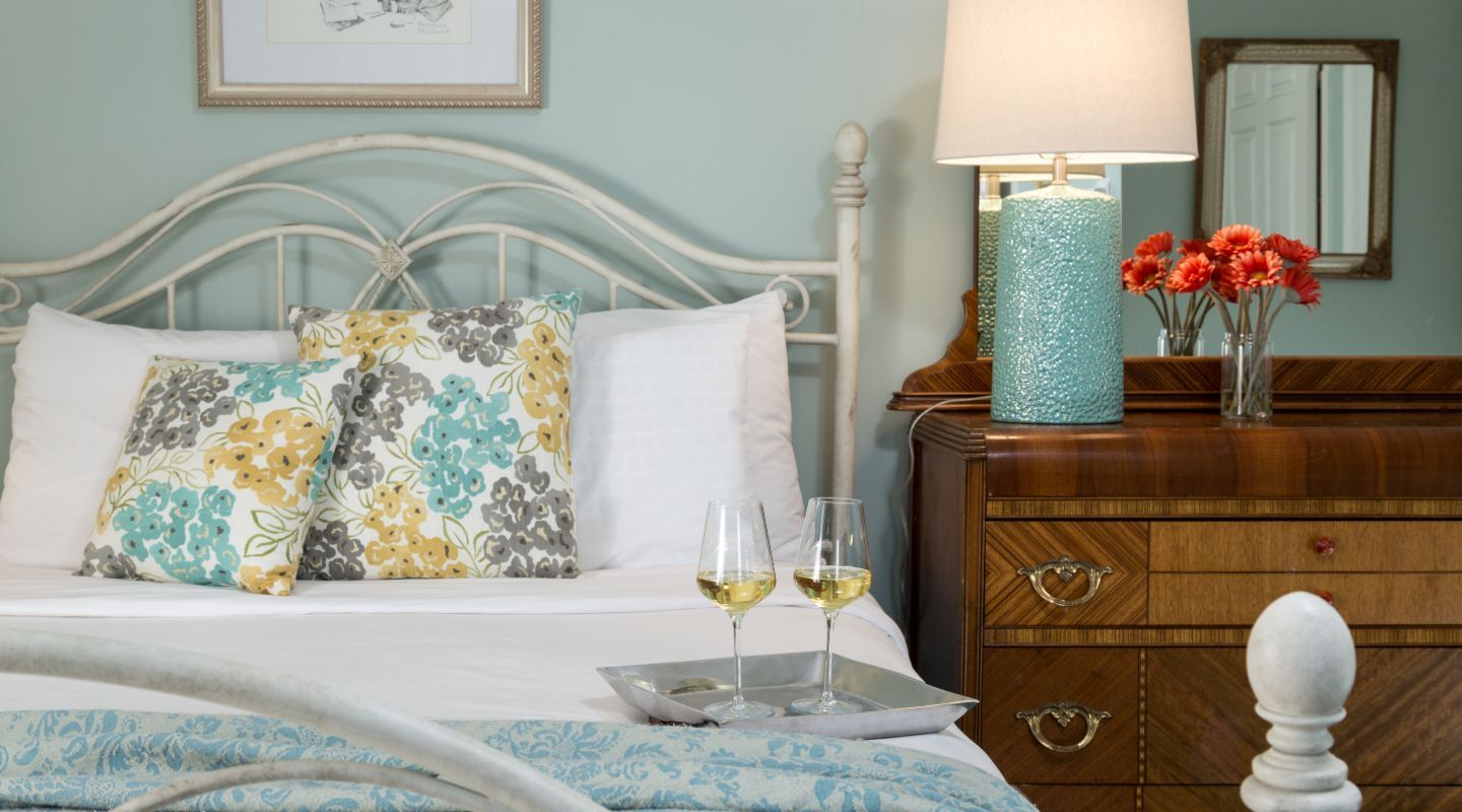 White Wine Awaiting Arrival in Berkshires B&B Guest Room