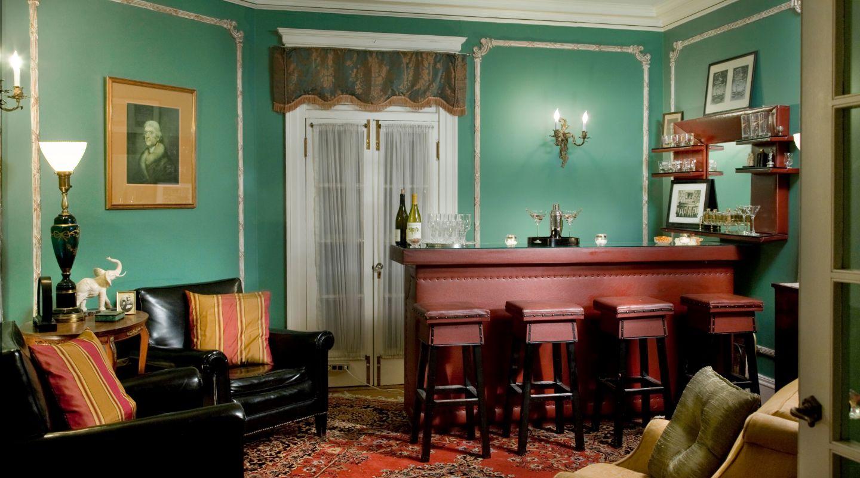 Seating area and bar at Historic Lenox Inn