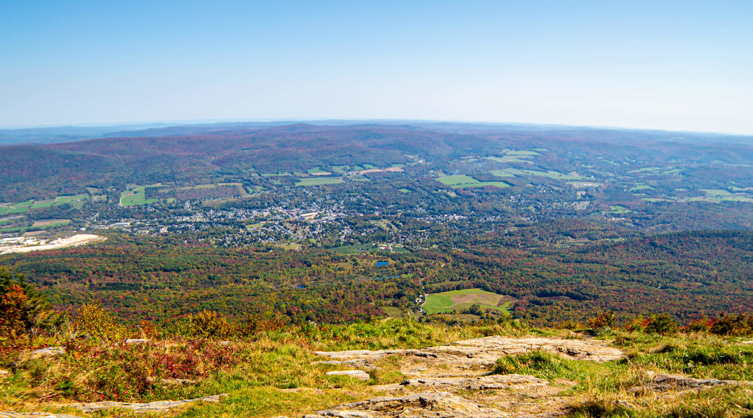 Views of Lenox and the distant horizon from atop Mount Greylock