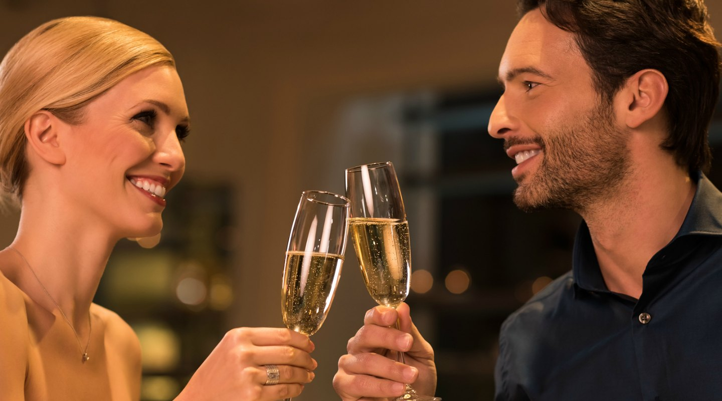 Couple Enjoying Champagne after Tour of Ventfort Hall