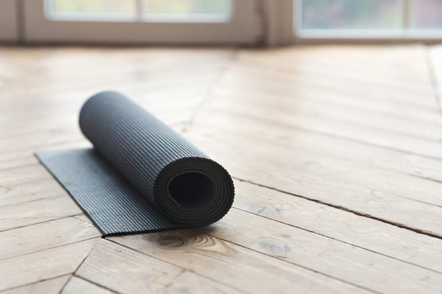 a yoga mat on a floor