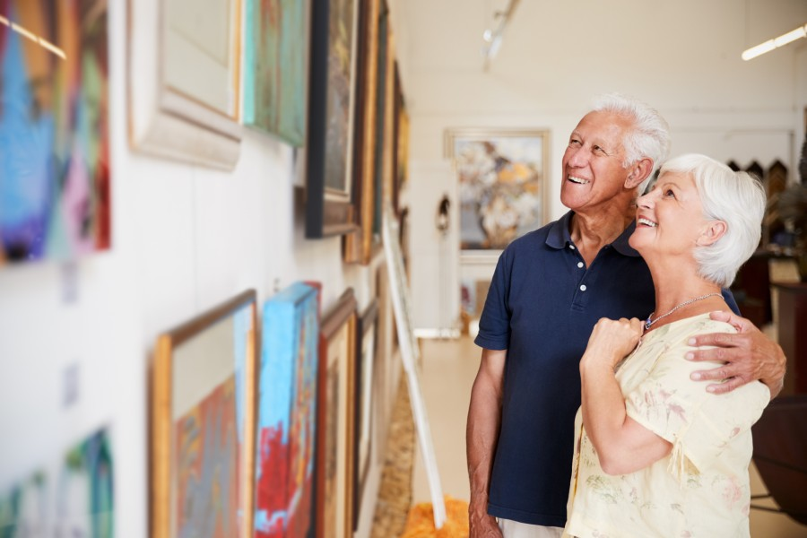 mature couple looking at art in Berkshires museum