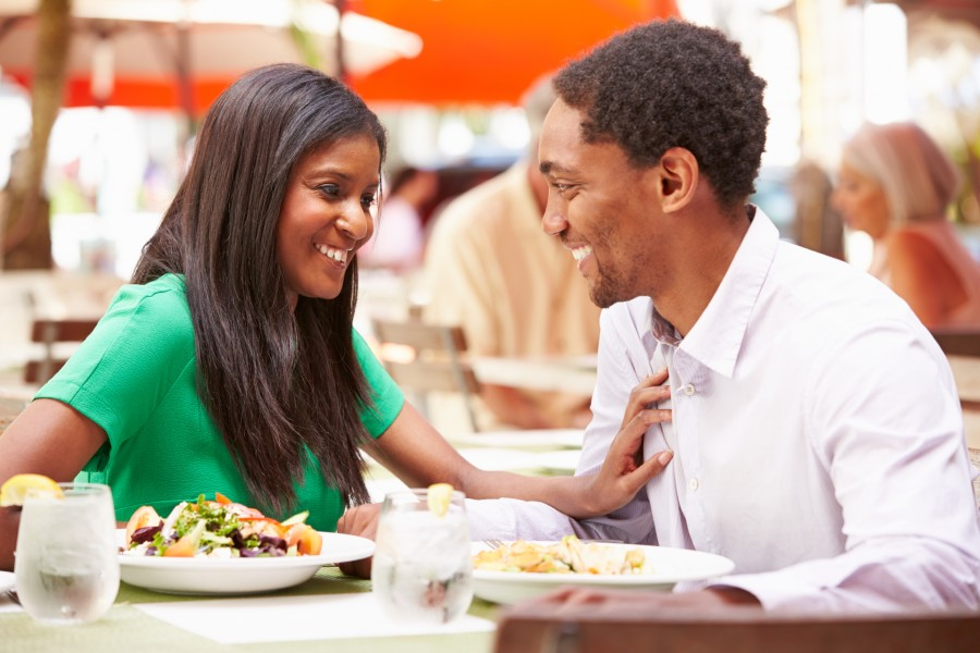 African American couple dining outside in the Lenox, MA