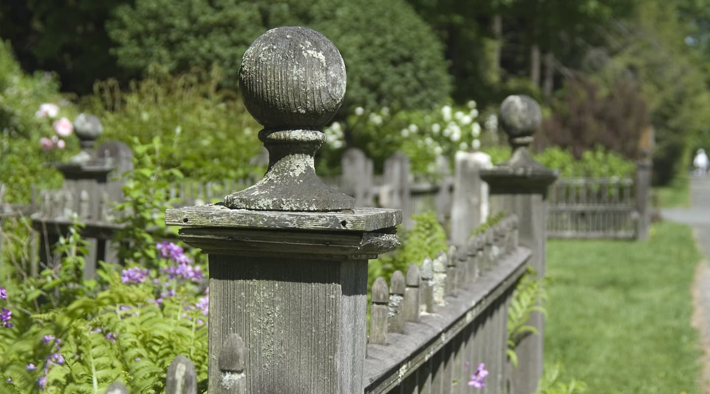 old wooden fence in garden in Stockbridge, MA