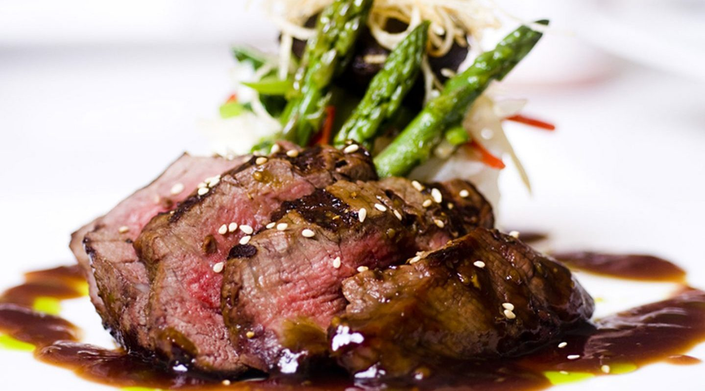 a plate served with steak and asparagus